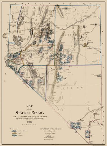 Nevada mining activity in 1866
