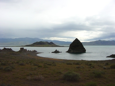 These Pyramid Lake tufa domes are the results of underwater thermal springs.