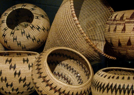 Some baskets made by a Washoe woman.
